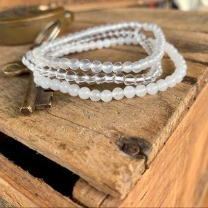 🆕🆕✨SET OF 3 STACKING STONE BEAD BRACELETS-4mm